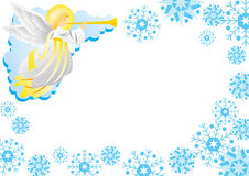 Angel. Trumpeting angel with graphic snowflake Stock Photo