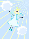Angel. An angel flying in the sky with clouds and rays Royalty Free Stock Photo