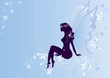Angel. A silhouette of angel sitting on flowers and curls Royalty Free Stock Photography