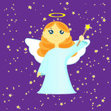 Angel. On the night sky with magic wand Royalty Free Stock Images