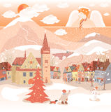 Angel. Decorative Christmas, New Year postcard, with snow, angel and city Stock Images