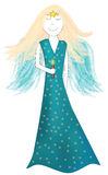 Angel. An illustrated angel with blue wings and dress holding a candle Stock Photos