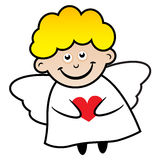 Angel. With wings in his hands holding the heart Stock Photography