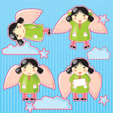 Angel. Small angel girl in the clouds royalty free illustration