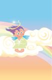 Angel. A little happy angel is praying on clouds vector illustration