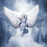 Angel. A heavenly angel in front of columns rising from clouds into the sky