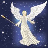 Angel. Flying in the night starry skies Royalty Free Stock Photos