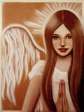 Angel. Young angel girl praying with a white dress Royalty Free Stock Image