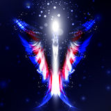 Angel. Futuristic background, wing illustration Stock Photo