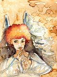 Angel. Illustratin of small watercolor angel Royalty Free Stock Photography