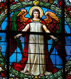 Angel. Stained glass window at the German Church in Gamla Stan, Stockholm royalty free stock photo