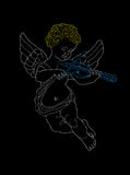 Angel. With violin on a black background royalty free illustration