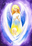 Angel. Protect a baby Jesus.Picture I have created with watercolors Royalty Free Stock Photos