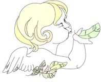 Angel. Baby angel blowing on feather stock illustration