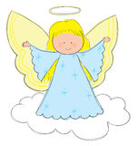 Angel. Hand drawn picture of angel with halo. Illustrated in a loose style. Vector eps available Royalty Free Stock Images