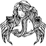 Angel. Art Nouveau style angel vector illustration - black and white winged woman outline Stock Images