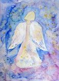 Angel. Hand painted angel with wings in blue background Stock Image