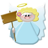 Angel. This angel is holding a wood sign for a message stock illustration