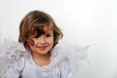 Angel. Little girl with wings on white Royalty Free Stock Images