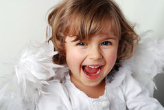 Angel. Little girl with wings on white Stock Photography