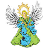 Angel. This file represents a green and blue angel with light grey wings, that is playing an harp. Everything is divided into groups and layers. No gradient used Royalty Free Stock Photo