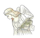 Angel. Illustration of angel with palm branch Stock Photo