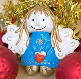 Angel. With heart/Christmas decorations Royalty Free Stock Photo