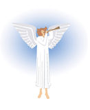 Angel. Blowing the trumpet in heaven, Vector illustration available for download Stock Photo
