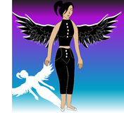 Angel. Vector Silhouette of an angel stock illustration