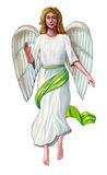 Angel. In a white and green robe. Digital illustration Royalty Free Stock Photo