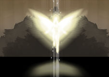 Angel. This illustration of an angel is on a harsh dark background Royalty Free Stock Photo