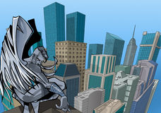 Angel. Black angel up the city stock illustration