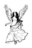 Angel. An Angel drawing in black and white Royalty Free Stock Image