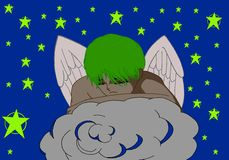Young angel sleeping on a cloud in the sky. Is night in Heaven. An angel is sleeping on a cloud Royalty Free Stock Photos