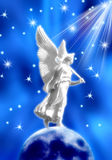 Angel. White angel standing on Moon over blue background with stars Stock Photo
