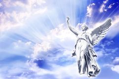 Angel. Beautiful angel in blue and pink rays Royalty Free Stock Photos