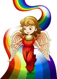 An angel above the rainbow Stock Photos