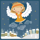 Angel above the town. Little angel girl above among the clouds Stock Photos