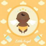 Angel African Baby bonito com garrafa de leite ilustração do vetor