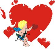 Angel against heart. The flying cupid against hearts Stock Images