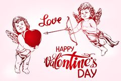 Free Angel, Amyr Little Baby Set. Cupid Shoots A Bow With An Arrow At The Heart, Love, Valentine S Day, Greeting Card Hand Stock Images - 108000364