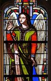 Angel. Stained glass window from Saint Germain-l `Auxerrois church in Paris, France stock photography