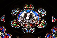 Angel. Stained glass window from Saint Germain-l `Auxerrois church in Paris, France stock photos