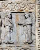 Angel appeared to Joseph in a dream to tell him to flee to Egypt. Medieval relief on the facade of Basilica of San Zeno in Verona, Italy stock image