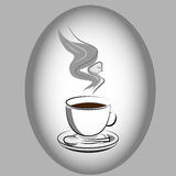 Angel Appearing on Coffee. Angel silhouette appearing on cup of coffee Royalty Free Stock Image