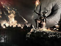Angel of Armageddon. Fantasy scenery with city, meteor shower and winged angel Royalty Free Stock Photos