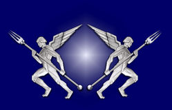 angel art deco fork frame silver w Στοκ εικόνα με δικαίωμα ελεύθερης χρήσης