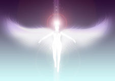 Angel ascending to heaven. Illustration of a angel surrounded by white and blue light Stock Images