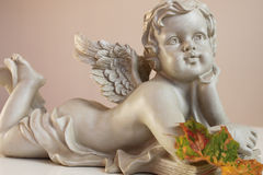 Angel with autumn leaf Royalty Free Stock Images