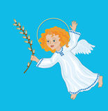 Angel with awillow branch. Symbolic image of Palm Sunday, the victory over death Stock Photos